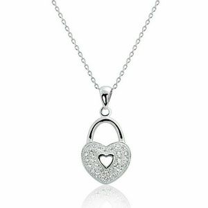 Simulated Diamond Heart Lock Necklace